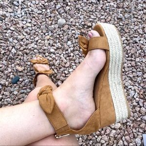 New Brown Ankle Bow Espadrille Wedge Sandals